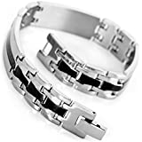 MunkiMix Edelstahl Armband Link Handgelenk Silber Schwarz Griechisch Polished Herren