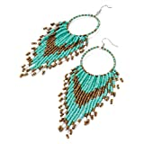 Tassel Drop Pierced Fashion Earrings Turquoise Blue