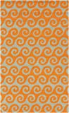 2' x 3' Wave Reflections Burnt Orange and Beige Hand Hooked Outdoor Patio Area Throw Rug