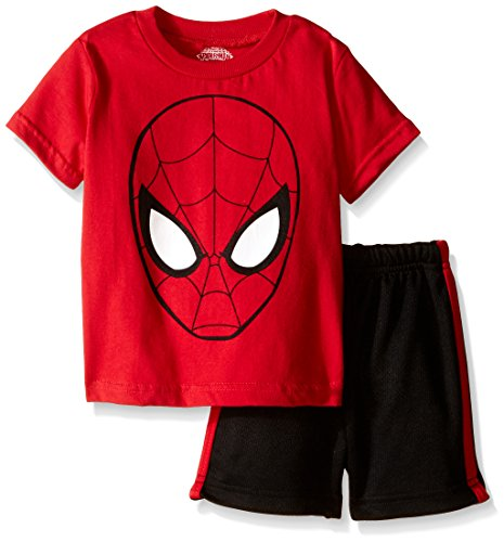Marvel Baby Boys' Spiderman Mesh Short Set with T-Shirt Shirt, Red, 12 Months