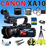 Canon XA10 XA-10 HD Professional Camcorder + Wide Angle Lens + 2X Telephoto Lens + 3Pcs Filter Kit + 32GB SDHC Memory + Professional Camcorder Case + Tripod And More (32GB Professional Kit)