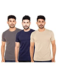 Fleximaa Men's Round Neck T-Shirt Plain Combo Offer (Pack Of 3) - Steel Grey, Navy Blue & Biscuit Color. Sizes...