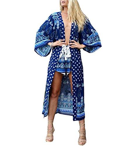 Santwo Chiffon donne piena lunghezza spiaggia swimwear bikini cover up Dress Tops Cardigan con cintura Style A (blue) Taglia unica