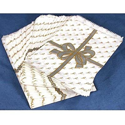 100 Silver Bow Paper Gift Bags Shopping Tote Sales Bag 5 x 7""