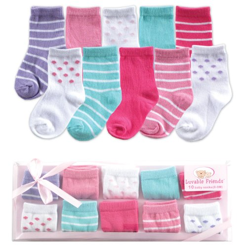 Luvable Friends 10-Piece Baby Socks Gift Set, Pink, 0-9 Months