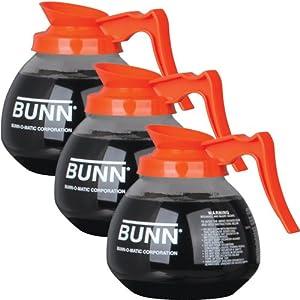 BUNN Glass Coffee Pot Decanter / Carafe - Set of 3 - Orange - Decaf - 12 Cup Capacity
