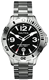 Nautica Men's Watch A14544G With Black Dial And Stainless Steel Bracelet