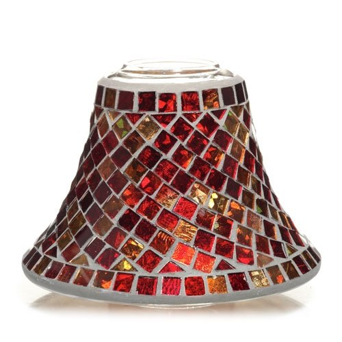 Yankee Candle Red and Gold Mosaic Glass Jar Shade or Candle Jar Toppers