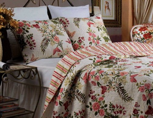 Tropical Print Exotic Floral Reversible Bedding Cotton Quilt Set Full/Queen front-289296