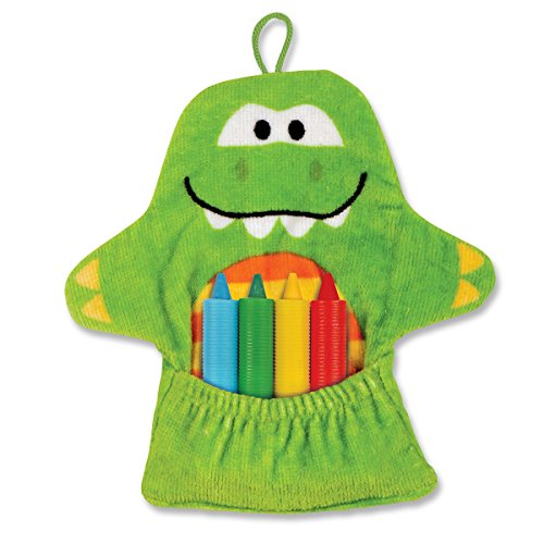 Stephen Joseph Bath Mitt and Crayons Dino, Green - 1
