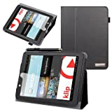 Evecase SlimBook Leather Folio Stand Case Cover for E-Fun Nextbook Premium 8HD (NX008HD8G) - 8'' Tablet [June 2013 Walmart Release] - Black