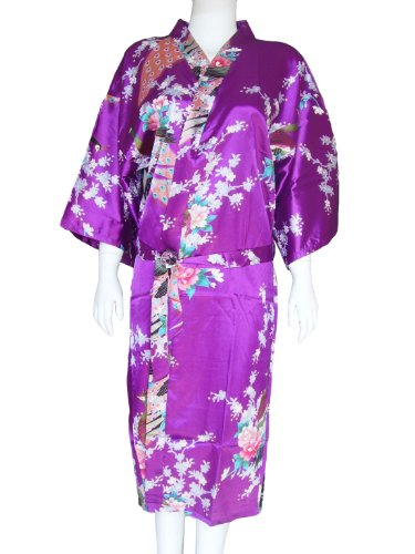 Purple dressing gown with peacock design