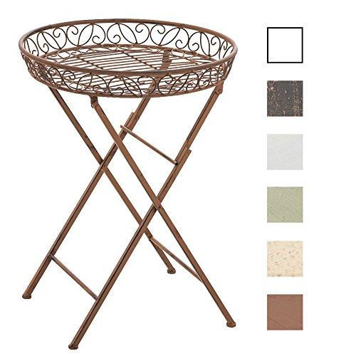 CLP-klappbarer-Blumentisch-Beistelltisch-MATTY-rund-Metall-Eisen-FARBWAHL--46-cm-schne-Verzierungen-nostalgisches-Design-Hhe-62-cm-antik-braun