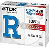 TDK CD-R 700MB 48X ホワイトワイドプリンタブル 10枚 5mmケース入り CD-R80PWDX10B