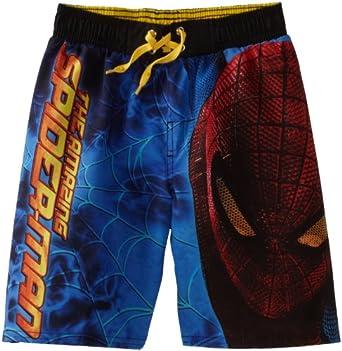 Marvel Little Boys' Spiderman Movie 4 Swim Trunk, Blue, 10/12