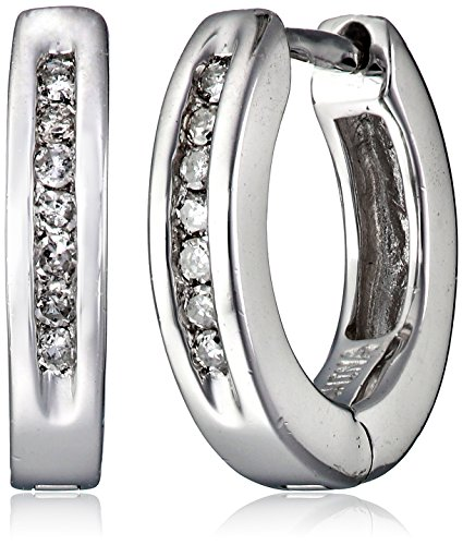 Sterling Silver Channel-Set Diamond Hoop Earrings (1/10 Cttw, I Color, I2-I3 Clarity)