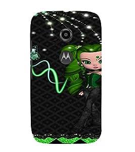 PrintVisa Cute Animated Girl Butterfly 3D Hard Polycarbonate Designer Back Case Cover for Motorola Moto E2