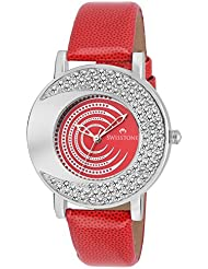 Swisstone NOVA204-RED Red Dial Red Strap Wrist Watch For Women/Girls