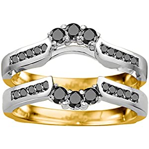 Two Tone Sterling Silver Royalty Inspired Half Halo Ring Guard Enhancer set with Black Cubic Zirconia (0.54 Ct. Twt.)