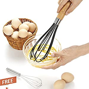 "Chefaith 12"" Food-Grade Silicone Wired Balloon Whisk [Wooden Handle for Nice Grip] + 3"" Mini Whisk as Bonus - Kitchen Whisks, Egg Beater, Milk Frother, Perfect for Mixing, Blending, Beating & Stirring"