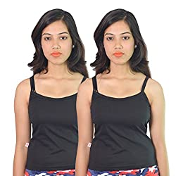 Vimal Black Cotton Camisole For Women (Pack Of 2)