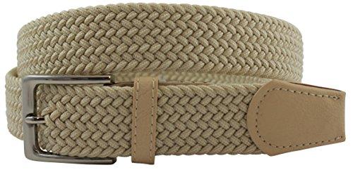 Confortevole Cintura in Tessuto Elastico . Fibbia senza nickel. (150 cm, Beige)