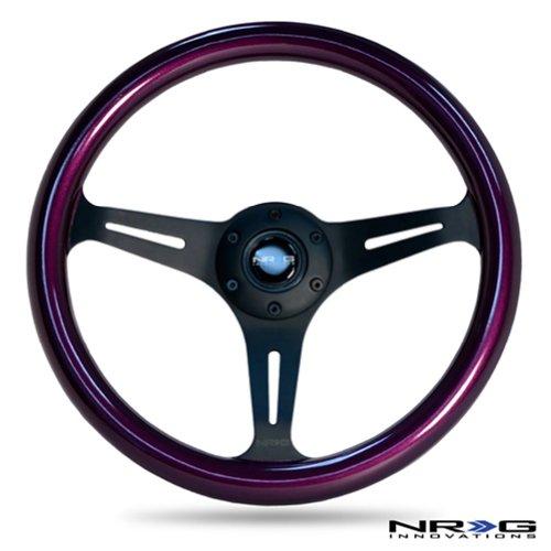 NRG Steering Wheel Purple Classic Wood Grain 3 Spoke Matte Black Center 350mm ST-015BK-PP Free Standard Shipping (Nrg Steering Wheels Purple compare prices)