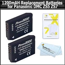 2 Pack of Panasonic DMW-BCG10 Replacement Batteries 1200MAH Each For Panasonic Lumix DMC-ZS5 DMC-ZS7 DMC-ZS1 DMC-TZ7S DMC-TZ7T DMC-ZS3 DMC-ZS25 DMC-ZS1S DMC-ZS3 DMC-ZS3A DMC-ZS3K DMC-ZS20 DMC-ZS6 DMC-ZS10 DMC-ZS8 DMW BCG10E DMW BCG10P + More