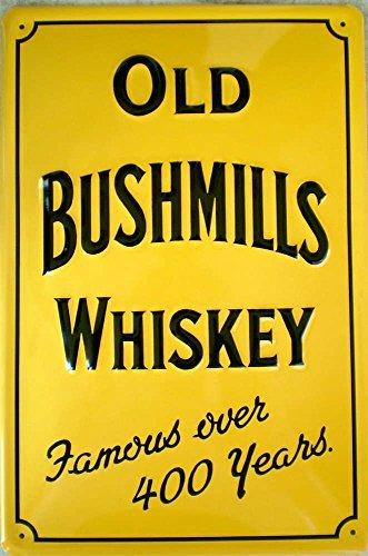 affiche-metallique-avec-irish-whiskey-old-bushmills-30-ans-inscription-en-allemand-jaune