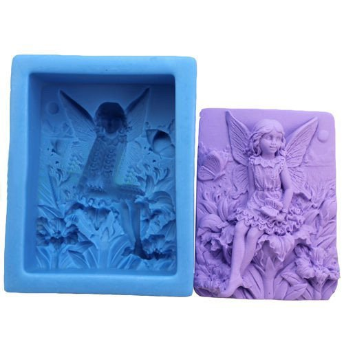 """Dgi Mart 3.5"""" Fairy Flowers Diy Educational Silicone Soap Making Mold Tray Clay Mold front-618538"""