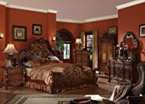 Hot Sale Queen Bedroom Collection Cherry Finish Dresden 5 Piece Set