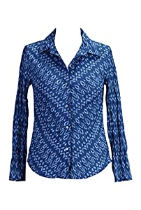 eShakti Women's Indigo batik print cotton shirt S-6 Tall Indigo blue