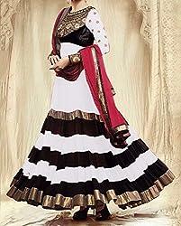Diya Women's White Georgette Designer Dress Materials [DS_JCN1030A_B]