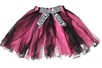 Zebra Tutu Skirt Pink Black Bow Toddler Girls Fairy Princess Ballerina Costume