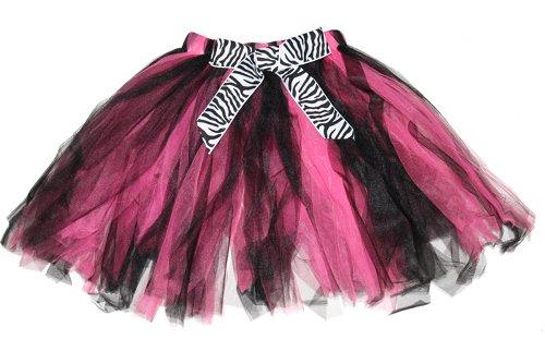 Zebra Tutu Skirt Pink Black Bow Toddler Girls Fairy Princess Ballerina Costume front-949952