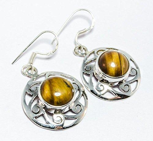 925 Silver Tiger Eye Earrings for Women By Gemoratti