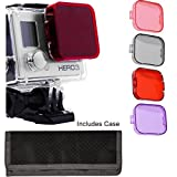 Snap-on Filter kit (4-Pack) For GoPro HERO3 HERO 3, Black, Silver, White, Surf, Edition, Red Filter (for Scuba Tropical Water) Purple Filter (for Green Color Water) Pink Filter (for Warming Effect) Gray Filter, (for Neutral Density (ND) Effect) For Stand
