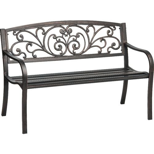 Cast Iron Powder Coated Outdoor Patio Bench Ivy Design