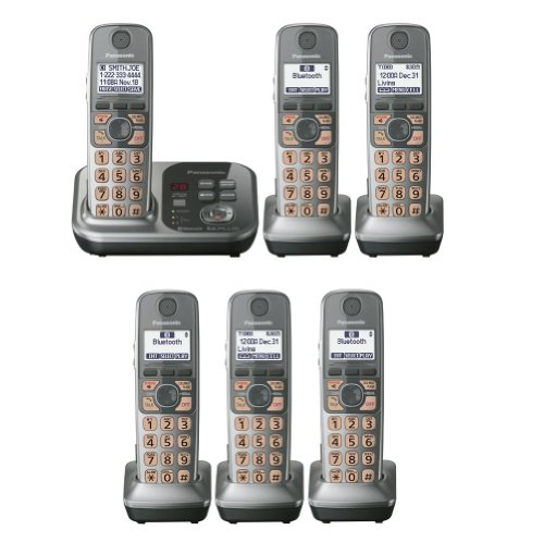 Panasonic Factory Refurbished Kx-Tg7733S + 3 Kx-Tga470S Handsets (6 Handsets Total) Dect 6.0 Plus Link-To-Cell Bluetooth Cellular Convergence Solution Cordless Phone System (Kx-Tg7736S, Kx-Tg7732S + 4, Kx-Tg7733S + 3)