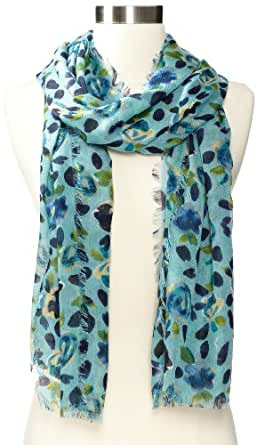 Nine West Women's Cheetah Rose Scarf, Peacock Turquoise, One Size
