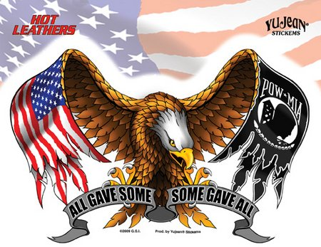 Hot Leathers - All Gave Some and Some Gave All American Eagle - Sticker / Decal