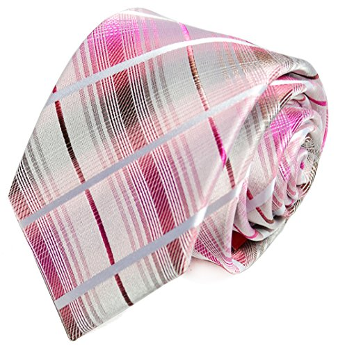 Extra Long 100% Silk Tie and Pocket Square . Pink and Grey (Pink Extra Long Ties compare prices)