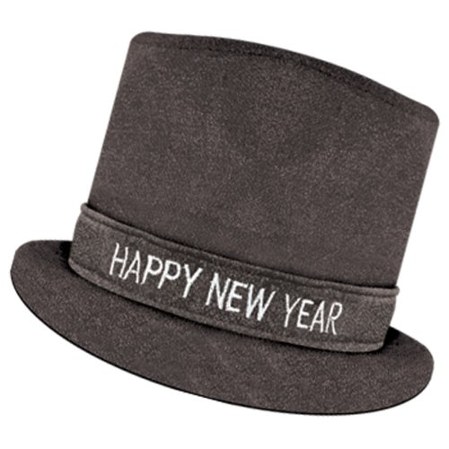 Glitz 'N Sparkle HNY Top Hat (black) Party Accessory  (1 count) (1/Pkg)
