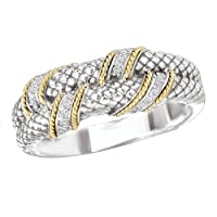 925 Silver & Diamond Wrap Ring with 14k Gold Accents (0.11ctw)- Sizes 6-8 by ELEMENT