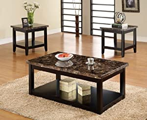 Lawndale 3 Piece Faux Marble Table Top Coffee Table Set Kitchen Dining