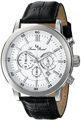 Lucien Piccard Men's 12011-02S Monte Viso Chronograph White Textured Dial Black Leather Band Watch
