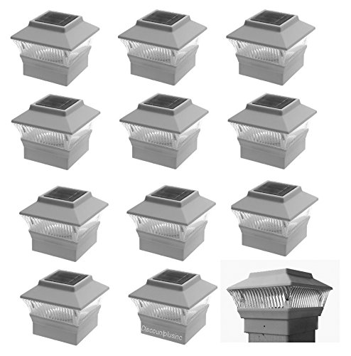 12-Pack-4x4-Outdoor-Garden-Solar-LED-White-Post-Cap-Fence-Pathway-Landscape-Square-Light-Lights-Bundle-Deal