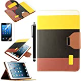 Pandamimi ULAK(TM) Smart Cover Yellow+Black+Brown PU Leather Wallet Type Magnet Design Flip Cute Case For With...