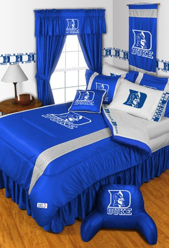 "Duke Blue Devils NCAA 5 Pc TWIN Comforter Set and One Matching Window Valance/Drape Set [84 Inch Drapes] (Comforter, 1 Flat Sheet, 1 Fitted Sheet, 1 Pillow Case, 1 Sham, 1 Matching Window Valance/Drape Set - 84"" Length Drapes) SAVE BIG ON BUNDLING! at Amazon.com"