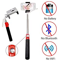 Looq S_looq® True Wired-Remote Shutter for Self Portrait Selfie Handheld Stick Monopod with Adjustable Phone Holder, No APP Required, No Bluetooth Matching, No Battery, No WiFi, No Limit Button Use, High Speed Shutter Response Time and Extendable Telescoping Selfie Pole for iPhones